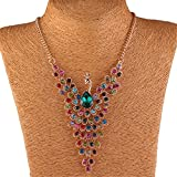 Colorful Peacock Bird Rhinestone Beaded Wing 18K Gold Y Bib Collar Necklace