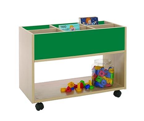 Mobeduc 600904HR21 Carrello-Libreria alta, in legno, colore: legno naturale/verde scuro, 80 x 40 x 58 cm