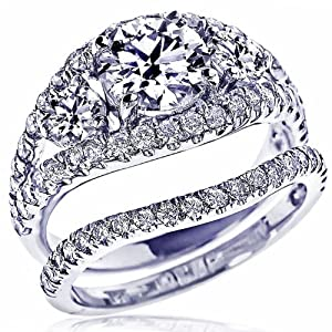 GIA Certified 3.74 Carat Natural Round Brilliant Cut Diamond Bridal Matching Band Engagement Ring Set 18K White Gold