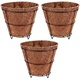 Oxygen Eco Friendly Square Coconut Coir Pot With Metal Stand - 10 Inch Dia - Pack Of 3