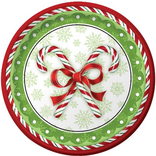 Creative Converting 436910 8 Count Candy Cane Bliss Paper Banquet Plates