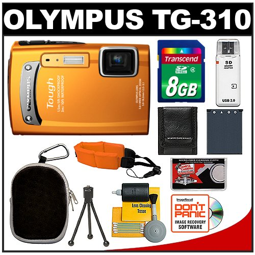 Olympus Tough TG-310 Shock & Waterproof Digital Camera (Orange) with 8GB Card + Battery + Case + Accessory Kit