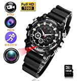 Watch Video Camera 16GB DVR Multifunctional Smart Wrist Waterproof Watch IR Night Vision with Cameras for Home Outdoor HD 1080P (Color: Black)