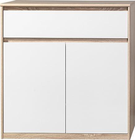 CS Schmalmöbel 75.012.051/23 Grifflose Kommode Soft Plus Smart Typ 23, 45 x 106 x 110 cm, eiche/weiß