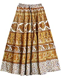 DollsofIndia Sangenari Block Print On White & Yellow Cotton Long Skirt - Length - 38 Inches - Elastic Waist -...
