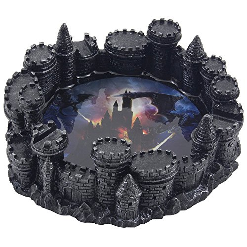 Mythical Fire Breathing Dragon Attacking Castle Ashtray in Metallic Look for Decorative Gothic and Medieval Home Decor Sculptures or Bar Decorations As Fantasy Gifts for Men or Smokers
