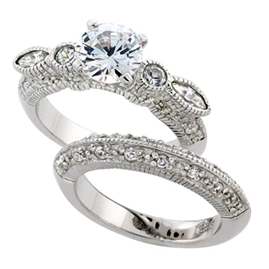 "Revoni Sterling Silver Vintage Style 2-Piece Wedding Ring Set w/ Rhodium Plating, w/ 7mm (1.25 Carats) Brilliant Cut CZ Stone, 5/16"" (8mm) wide"