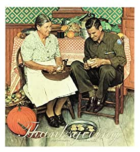 Norman Rockwell Thanksgiving 1945 Art Print - 8 in x 9 in - Unmatted Unframed
