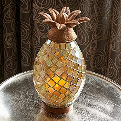 Smart Living Ananas Glass Mosaic Pineapple Indoor/Outdoor LED Candle Lantern by Smart Solar