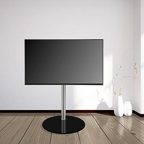 """DESIGN TV STÄNDER by Cavus - Ø 37cm Standfuß Rund Glas schwarz, 100 cm Saule edelstahl - Geeignet fur max. VESA 200x200 19""""- 32"""""""