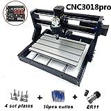 CNC Milling Machine CNC 3018 Pro Milling Machine CNC 3018 Pro GRBL Control DIY Mini CNC Machine 3 Axis Mini DIY Wood Router CNC Engraving Machine + ER11 + 5mm Extension Bar NO Laser (Tamaño: NO Laser)
