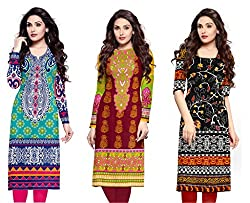 Fashion Galleria Women's Printed Unstitched Regular Wear Kurti Material (Combo pack of 3)