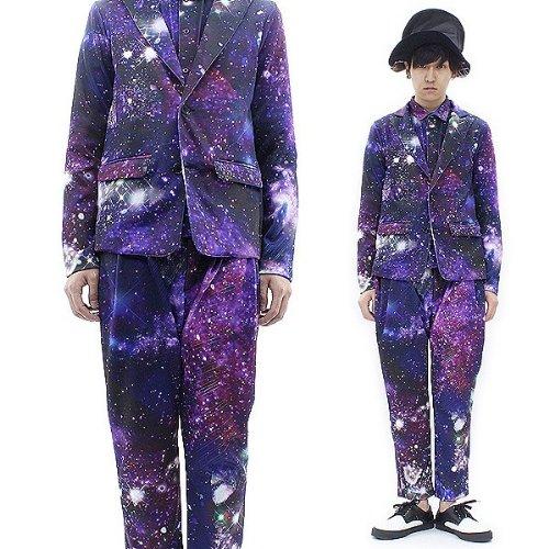 (アンコロック) ankoROCK 宇宙柄セットアップ ギャラクシー柄セットアップ 上下セット スーツ パープル