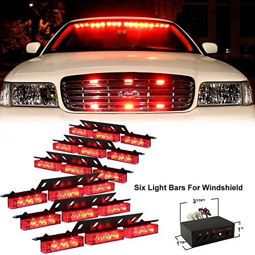 Ediors 54 Ultra Bright Led Emergency Service Hazard Vehicle Strobe Lights Bars Warning For Windshield Red