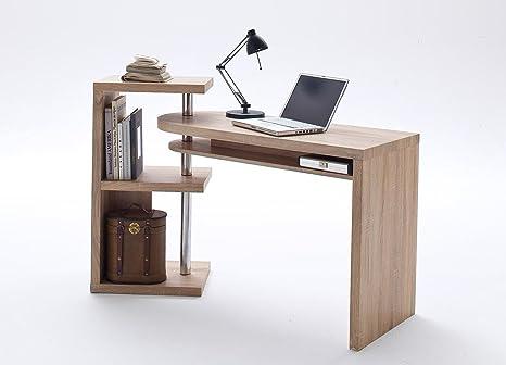 Schreibtischkombination in Eiche sägerau-Nachbildung inklusive Regal, Maße: B/H/T ca. 145/94/50 cm
