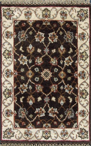 2 X 3 Brown Hand Knotted Handmade Wool Peshawar Chobi Persian Oriental Area Rug H459