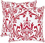 Safavieh Pillow Collection Paris Bistro 18-Inch Decorative Pillows, White and Red, Set of 2