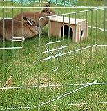 dobar 80606 8-eckiges XL Freilaufgehege groß, Kaninchengehege aus Metall mit Nylon Netz, Holz Häuschen und Trinkflasche, für Outdoor wetterfest, 135 x 135 x 56 cm, silber -