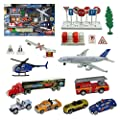 Joyin City Vehicles Educational Play Gift Set Including 8 Different style Vehicles, Road Signs, Accessories and a Play Map-Great Christmas Toys Gift