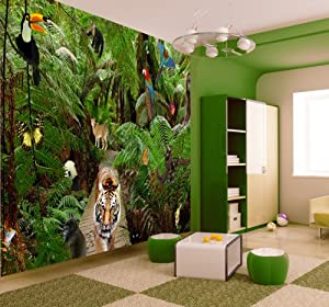 jungle wallpaper mural amazon co uk kitchen home