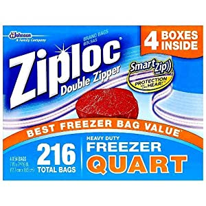 Ziploc Double Zipper Heavy Duty Quart Freezer Bags (216 Bags)