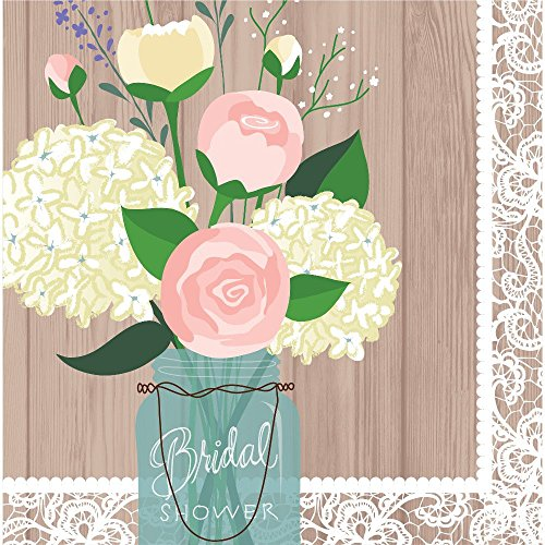 Creative Converting 16 Count 3 Ply Bridal Shower Rustic Wedding Lunch Napkins, Brown/White