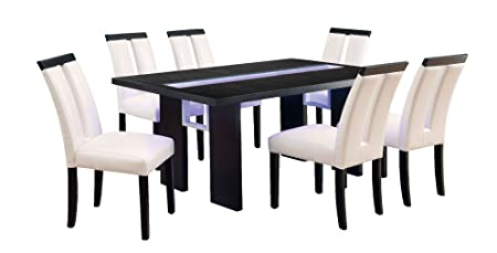 Furniture of America Brighton 7-Piece Dining Set with LED Light, Espresso