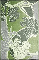 b.b.begonia Blossom Floral Contemporary Reversible Design 5\' x 8\' Green and Grey Rectangle Outdoor Rug Mat Polypropylene for Camping, Patio, Deck, Pool Area, Yard, Picnic