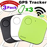 GPS Tracker for Pet, Mini Smart Key Finder Locattion Tracking, Square Anti Lost for Cat Dog Wallet Bag Luggage with App Control Alarm Patch Wireless Seeker Selfie Remote Shutter Long Battery Time 3pcs (Color: white black green, Tamaño: 3 Pack)