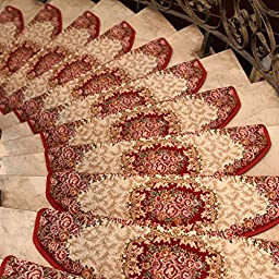 Carpet Stair Treads Machine Washable Pastorale Style Steps Rugs Non-Slip (24x64, Wine)
