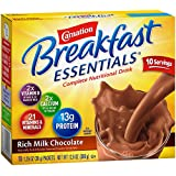 Carnation Breakfast Essentials Powder Drink Mix, Rich Milk Chocolate, 10 Count Box of 1.26 oz Packets, 6 Pack