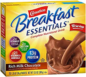 Carnation Breakfast Essentials, Rich Milk Chocolate Powder, 10-Count Envelopes (Pack of 6)