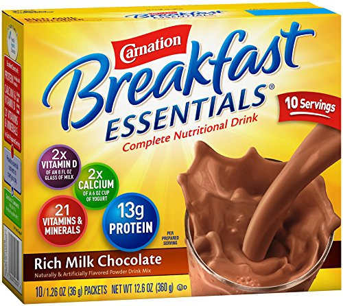 Carnation Breakfast Essentials, Rich Milk Chocolate Powder, 10-Count Envelopes (Pack Of 6) front-63715