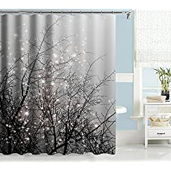 "Uphome Fashion Black Tree Branch Pattern Custom Bathroom Shower Curtain Grey Waterproof Polyester Fabric Bath Curtain Ideas (72""W x 72""H)"