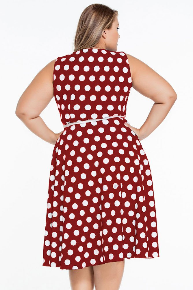 Roswear Women's Vintage 1950s Polka Dot A Line Belted Skater Dress 6