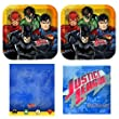 DC Comics Justice League party pack for 16, Party Supplies, Tablecover, plates, napkins