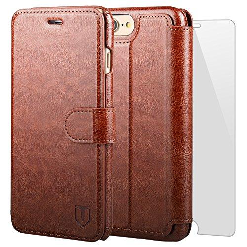 iPhone7 plus ケース 手帳型ケース TANNC 「強化ガラスフィルム付き」 財布型ケース レザーケース マグネット式 カード収納 ポケットホルダー付き スタンド機能付き ブラウン