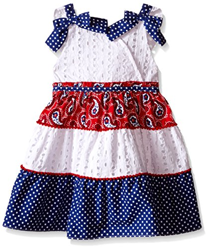 Nannette Little Girls Tiered Mixed Print Sundress with Flutter Sleeve, Red/White/Blue, 3T
