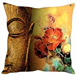 Sleep Nature's Micro Fabric Buddha Faces With Flowers Printed Cushion Cover, 16 Inches X 16 Inches
