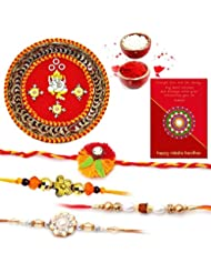 Ethnic Rakhi Fashionable And Stylish Rajasthani Colorful Floral Pattern Mauli Thread And Beads Rakhi And Traditional...