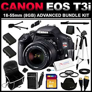 "Canon EOS Rebel T3i 18 MP CMOS APS-C Sensor DIGIC 4 Image Processor Full-HD Movie Mode Digital SLR Camera with 3.0-Inch Clear View Vari-Angle LCD and EF-S 18-55mm f/3.5-5.6 IS Lens (8GB Advanced Bundle Kit) includes Charger, x2 Batteries, 8GB SD Card, USB Card Reader, HDMI Cable, Carrying Case, Mini Tripod, 67"" Monopod, 57"" Tripod, Filters, Lens Pen and Cleaning Kit"