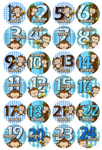 1-24 MONTHS BLUE BANANA MONKEYS Baby Month Onesie Stickers Baby Shower Gift Photo Shower Stickers, baby boy monkeys by OnesieStickers