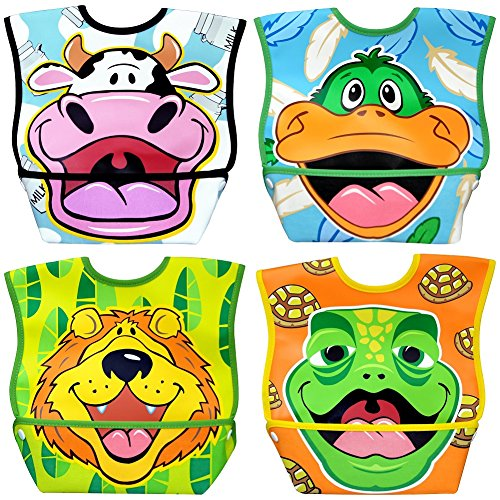 Dex Baby Dura-bib Big Mouth- 4 Pack (Cow, Duck, Lion, Turtle) 6-24 Months