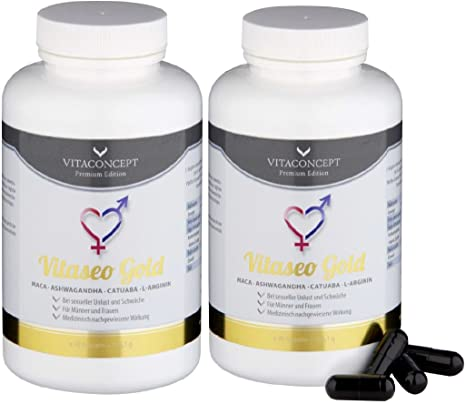 Spar Pack - 2x VITASEO Gold - L-Arginin - MACA -Tribulus terrestris - Ashwagandha - unser Stärkstes Potenzmittel - Luststeigerung - Sport - fur Mann und Frau - VITACONCEPT