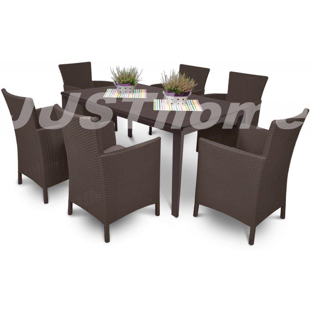 JUSThome Gartenmöbel Sitzgruppe Gartengarnitur TOSCANA 6+1 6x Sessel + 1x Tisch Braun