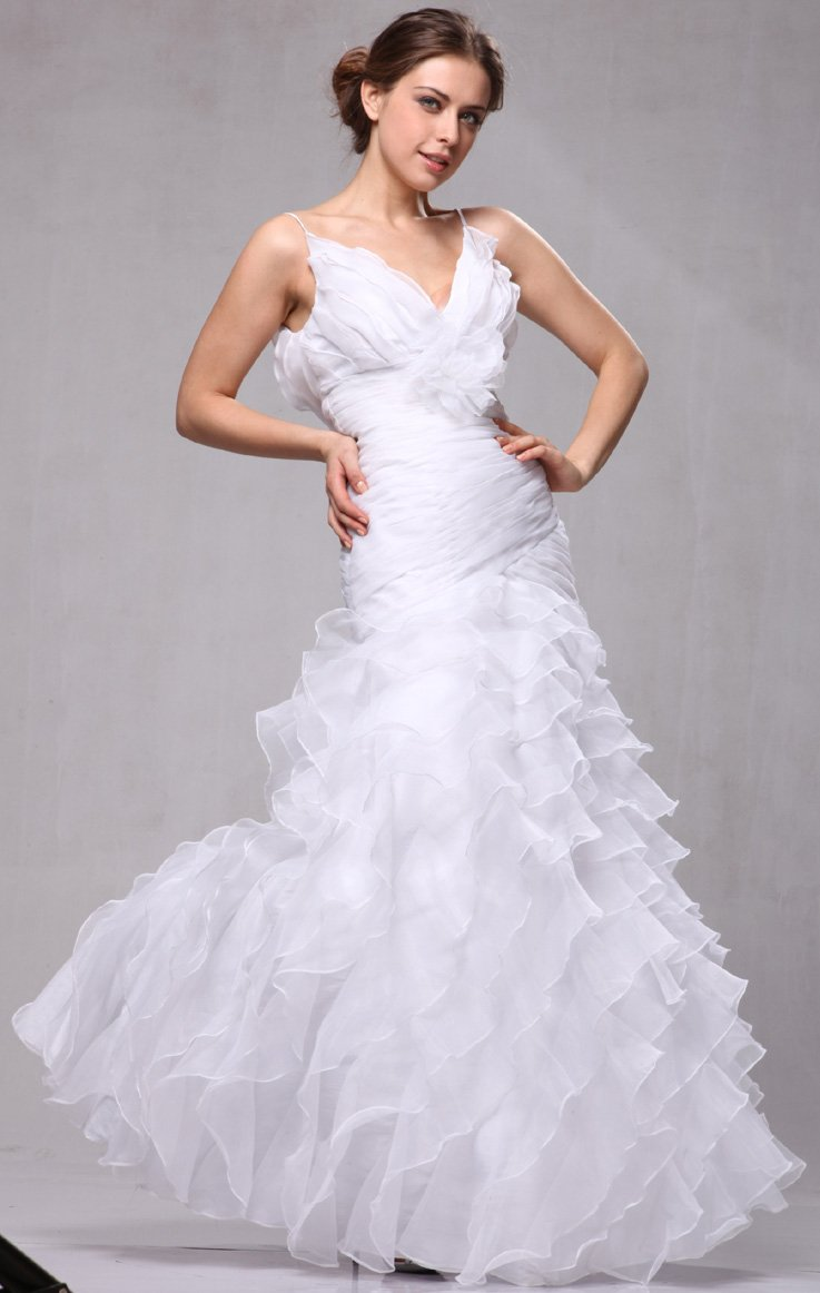 W3188 Organza Ruffle Bridal Wedding Formal Gown