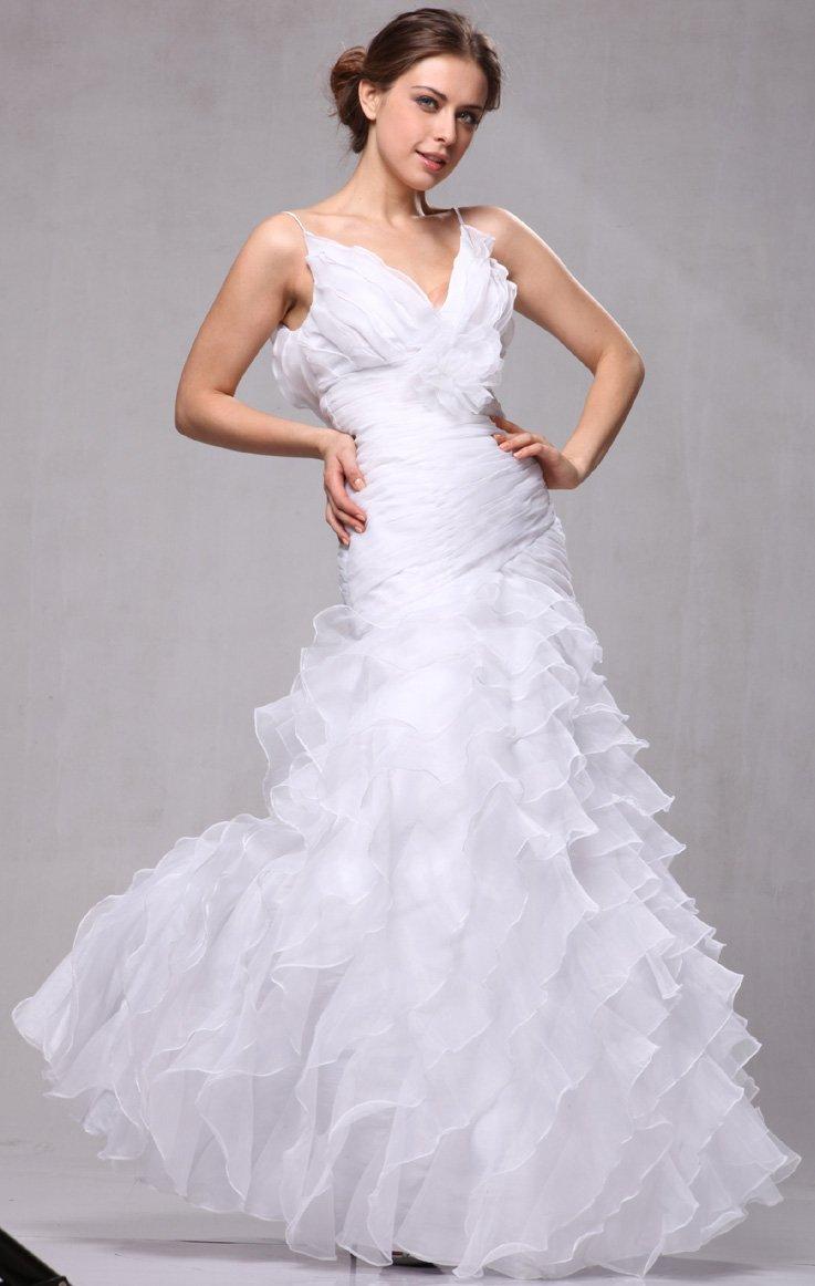 W3188 Organza Ruffle Bridal Wedding Formal Gown