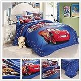 Disney Red Cars - Kids 3 Piece Blue Duvet Set 100% Cotton- Twin Bed