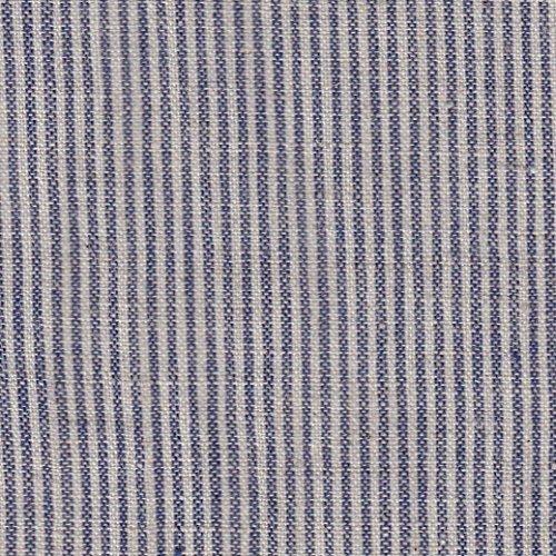 【綿麻/先染生地】約1mm幅ネイビーブルー系ストライプ 4色あります 1m単位で切り売りいたします