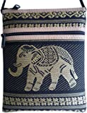 Travel neck wallet with elephant / black. 12,5 x 16,5 cm (w x h); strap length: 116 cm